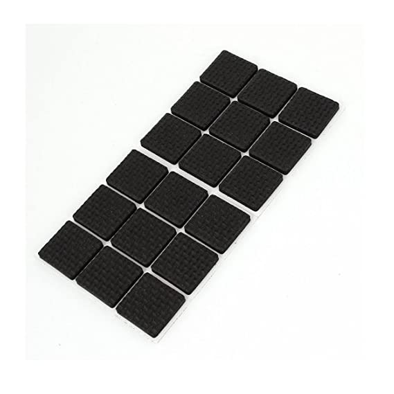 Okayji Self Adhesive Rubber Pads for Furniture Floor Scratch Protection (Square Shape, Black) -18 Pieces