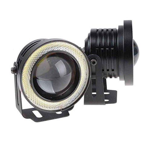 Meisijia 2PCS 12V 3.0 Zoll 30W Auto-Projektor-LED Nebel-Lampen mit Konstantstrom Cob Halo Ringe Leistungs-Licht (Leistung Schnee)