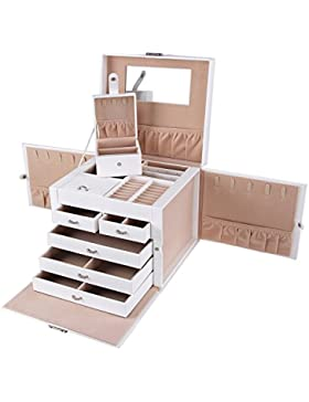 Songmics XXL Schmuckkästchen abschließbar mit spiegel Schublade und Mini-Box 5 Schichten mit 5 Schubladen Weiss...