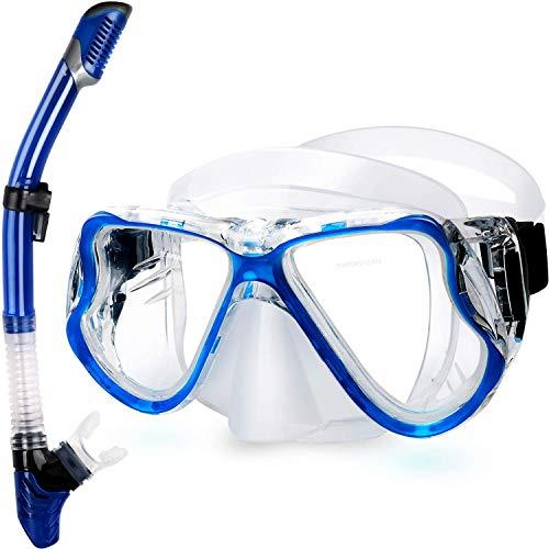 QcoQce 2019 Trocken Schnorchelset,Anti-Fog und Panorama-Weitblick Tauchmaske,Leichtes Atmen und Professionelle Schnorchelmaske mit Weichen Mundstück,Schnorchel Set für Erwachsene (Blau)