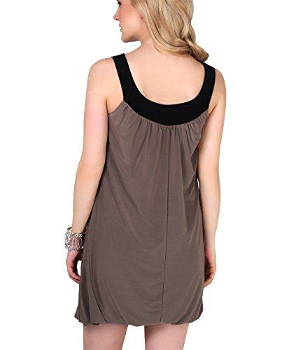 KRISP® Damen Umstandsmode Kurzes Tunika Kleid mit Blumenanstecker Mokka ( 3565) ...