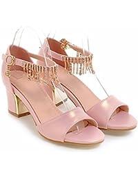 Sommer lady Größe Sandalen, Quasten, Frauen Sandalen, 4, eine Schriftart, pearl dicker Absatz Frauen Schuhe mit hohen Absätzen, Pink, 37