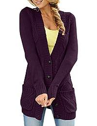 Dokotoo Femme Cardigan Manches Longues Veste Ouvert Poches Épais Tricot  Gilets Long en Maille Outwear Torsadé b935d8e74458