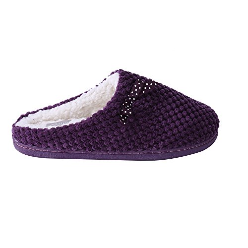 WILLIAM & KATE donna chiusa Memory Toe Memory foam Cute Ananas Griglia Bowknot modello Comodo Slipper Viola scuro