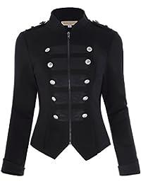 55b5663d0b37 Kate Kasin Veste Militaire Décorée par Boutons à Manches Longues Gothique  Steampunk Blouson Femme