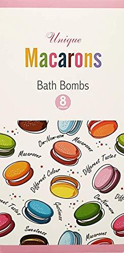Unique Badebomben - [8er Set] Macarons Badekugeln als Geschenk für Frauen - Badezusatz in edler Geschenkbox - Bubble Bath mit spezieller Rezeptur für mehr Schaum - Wellness Geschenkset -