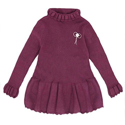 Longra Baby Kinder Mädchen Solid Strickpullover Winter Warm Sueter Häkeln Kleid Tops Kleider Mädchen Baumwolle Herbst-Winter Kleider Kinder Prinzessin Strickkleid (2-6Jahre) (110CM 3Jahre, Purple) (Pants Solid Knit)