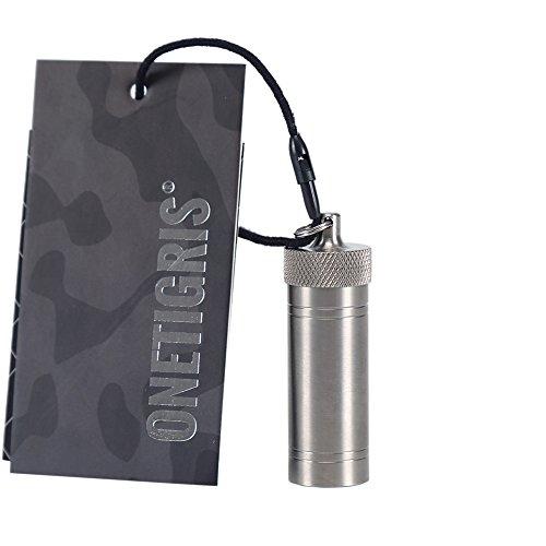 OneTigris Wasserdichte Pillendose Titan Pille Box mit Mini Schlüsselring (Silber)