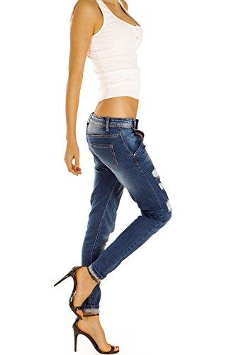 Bestyledberlin Damen Jeans, Destroyed Slim Fit Jeans, Stretch Hüftjeans, Relaxed Baggy Hosen j34f Dunkelblau