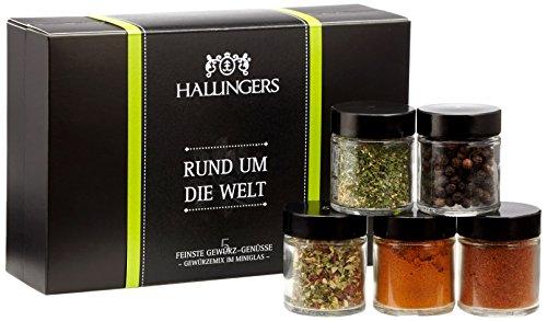 Preisvergleich Produktbild Hallingers Gewürz Mix Rund um die Welt Set / Mix 5 x Miniglas in MiniDeluxe-Box,  1er Pack (1 x 70 g)