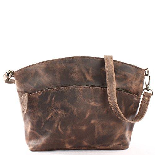 LECONI Umhängetasche für Damen Schultertasche Freizeittasche Damentasche Frauen Ledertasche Handtasche Vintage-Style Leder 36x27x8cm schlamm LE3050-wax -