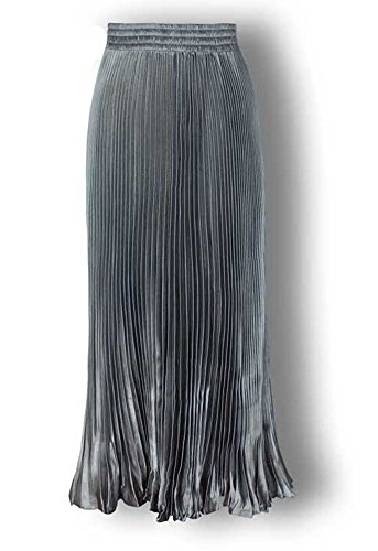 BiilyLi Gonna donna alta vita elegante Midi Maxi Gonne lunghe Moda gonna a pieghe fluorescenti Gonna di cocktail Grigio chiaro