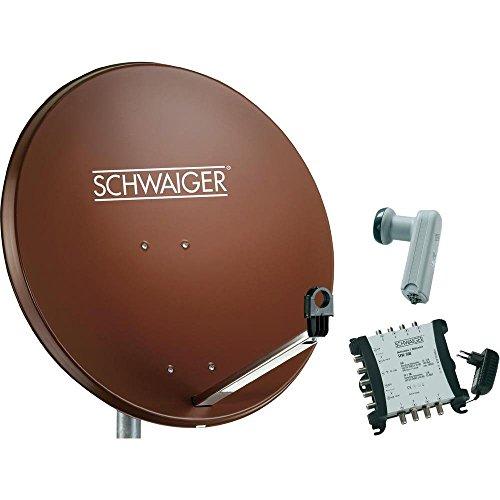 Schwaiger SAT Anlage 80 cm 8 Teilnehmer Quattro-LNB (ohne Switch) Ziegel-Rot mit Multischalter 5/8