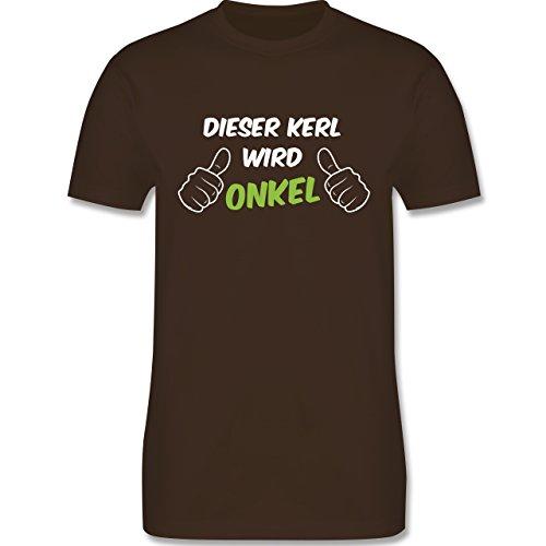 Shirtracer Bruder & Onkel - Dieser Kerl Wird Onkel - Herren T-Shirt Rundhals Braun