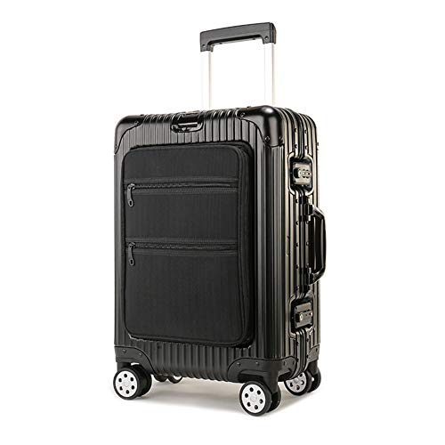 GJF Hartgepäck, Universal-Radkoffer, TAS Customs Lock Box, Koffer aus Aluminium-Magnesium-Legierung, Business Travel Photography Vacation - Schwarz-Black - Chassis-black-box