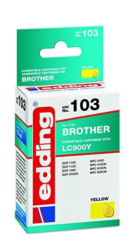 edding 18-103 Druckerpatrone EDD-103, Ersetzt: Brother LC900Y, Einzelpatrone, gelb (Brother Drucker Patronen 103)