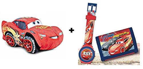 Cars 3 - Pack peluche Rayo McQueen 25 cm (Famosa 760015270) + Blister Reloj digital & billetera
