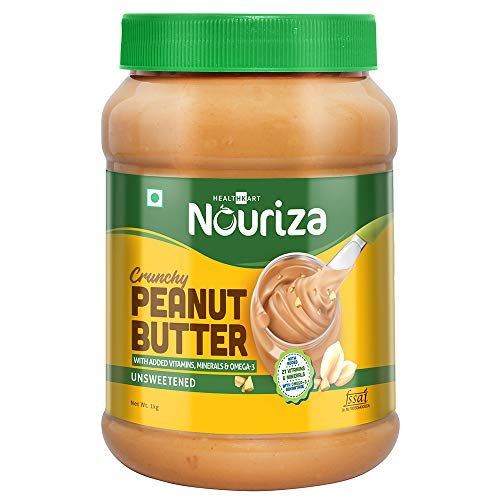 Nouriza Natual Peanut Butter with Added Vitamins & Minerals, Unsweetened, (Crunchy, 1 Kg)