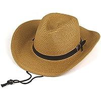 Simplicity Unisex Khaki Cowboy Cappello spiaggia cappello cappello di paglia, taglia unica