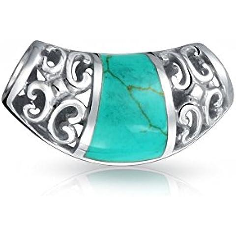 Bling Jewelry Pendiente Filigrana en Plata de Ley con Incrustación Turquesa