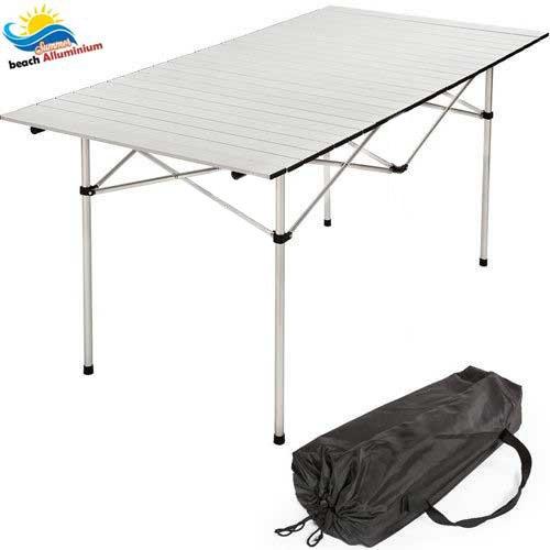 Bakaji tavolo arrotolabile in alluminio 70 x 140 x 70 picnic campeggio sagre fiere giardino casa, leggero e salvaspazio