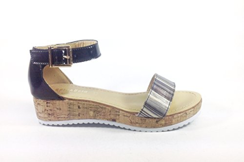 Sandali donna casual in ecopelle zeppa bassa GL110 NERO MULTICOLOR