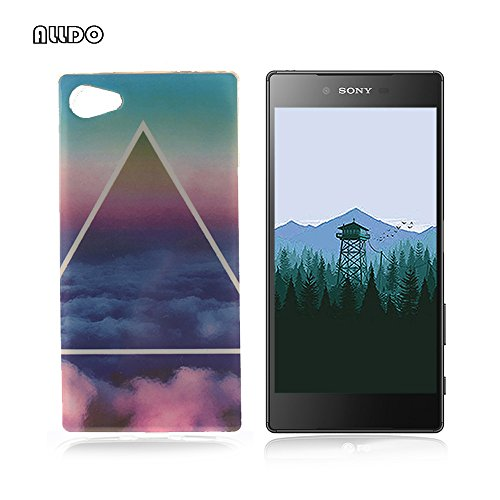 AllDo Coque Sony Xperia Z5 Compact Housse Protection Etui Souple Flexible Coque TPU Silicone Soft Case Cas Motif Original Housse Ultra Mince Etui Poids Léger Couverture Anti Rayure Coquille Anti Choc - Ciel Bleu&Nuage Blanc