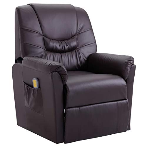 vidaXL Massagesessel mit Massage Heizfunktion Elektrisch Fernsehsessel Relaxsessel TV Sessel Relaxliege Ruhesessel Liegesessel Braun Kunstleder -