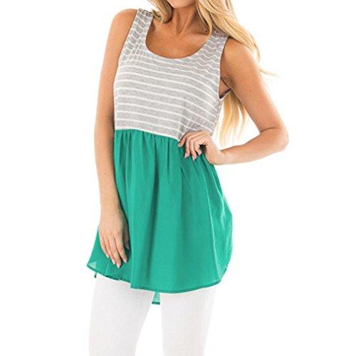 Chemise Femme,Manadlian Tuniques Femmes Cami Top Stripe Manches Crop Top Gilet Tank Shirt Blouse Vert