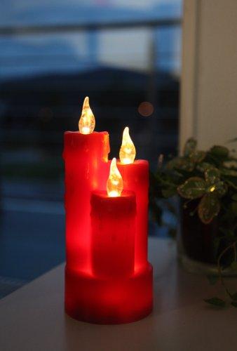 Best Season 067-43 - Velas de cera con luz (3 ledes, 2 pilas AAA, 19 x 8 cm), color rojo