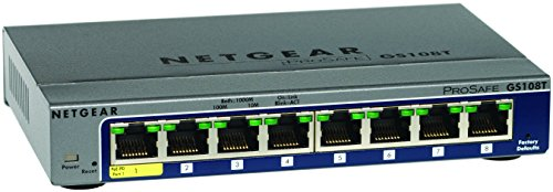 NETGEAR ProSAFE GS108T-200GES (8-Port Gigabit Smart Managed Switch 8 x 10/100/1000 - desktop) (Netgear Switch 8 Port)