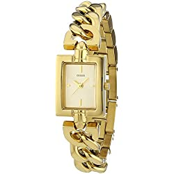 Guess Women's Quartz Watch with Gold Dial Analogue Display and Gold Stainless Steel Bracelet W0437L2