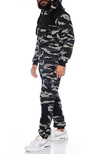 Raff & Taff Sportanzug Trainingsanzug Freizeitanzug Camouflage Hoodie +Hose Schwarz