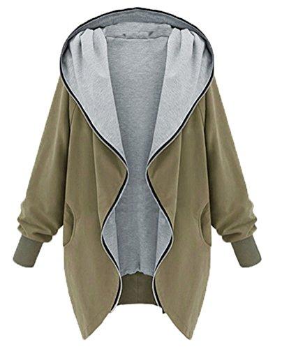 SMITHROAD Damen Hipster Sweatshirt Kapuzenpullover Jacke mit Kapuze und Reißverschluss Cardigan Hooded Armee Grün Gr.42-44 (Armee Sweatshirt Hooded)