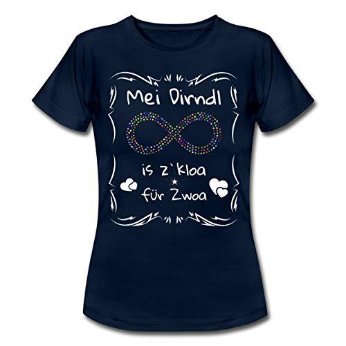 Spreadshirt Schwanger MEI Dirndl zu Kloa für Zwoa Frauen T-Shirt, L (40), Navy