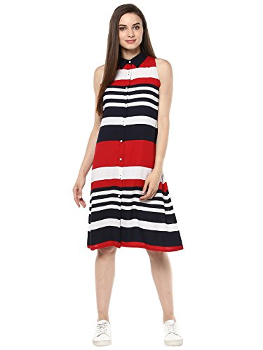 (3208RedStripeDrs)-StylesStone Women's Red and Navy Blue Stripe Dress