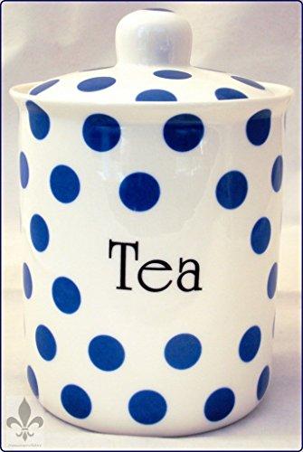 Bleu Pois Boîte à thé en porcelaine Fine de thé bleu décoré à la main en forme de U. K.-gratuite