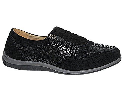 Ladies Bernie/Brenda Cushion Walk Lifestyle Leather Zip Go Walking Casual Pumps Trainer...