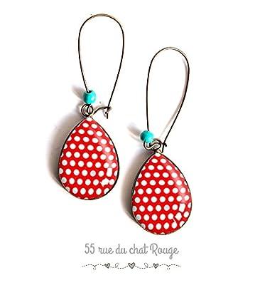 Boucles d'oreilles bijou cabochon gouttes, Petit pois rouge et blanc, années 60's, pin up