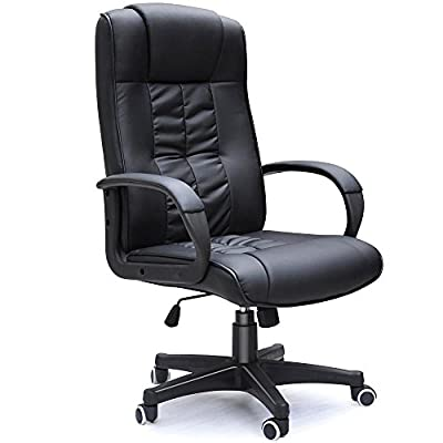 tinkertonk Black High back Faux Leather Computer Executive Office Chair,Modern and Ergonomic Design, 360 Degree Swivel,Tilt Mechanism,Adjustable Seat Height - low-cost UK light shop.