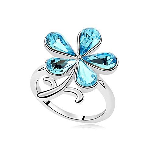 KnSam Damen Ringe Vergoldet Partner Ringe Vergoldet Blume mit Zirkonia Größe 53 (16.9) bis 57 (18.1) 11