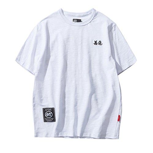 Honghu Herren Druck Kurze Ärmel T-shirt Weiß