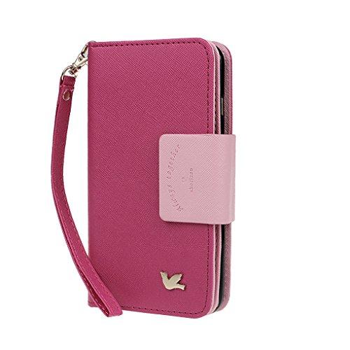 xhorizon MW8 Premium Leder Folio Case [Brieftasche] [Magnetisch Abnehmbar] Uhrarmband Geldbeutel Flip Mehrere Kartensteckplätze Vogel Hülle Tasche für Samsung Galaxy S7 Edge mit einer KFZ Halterung Rosa