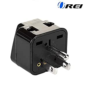 OREI India to USA, Philippines & More (Type B) Travel Adapter Plug - 2 in 1 - CE Certified - RoHS Compliant - Black Color (DB5-BLK)