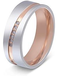 Juwelier Schönschmied - Damen Titanringe Verlobungsring Trauring Paris Titan Zirkonia inkl. persönliche Wunschgravur NrT23D