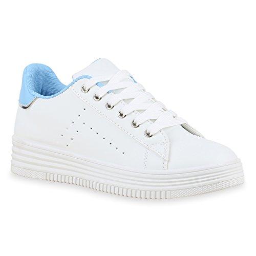 Damen Sneakers Mini-Keilabsatz Sneaker Wedges Metallic Schuhe Weiss Blau