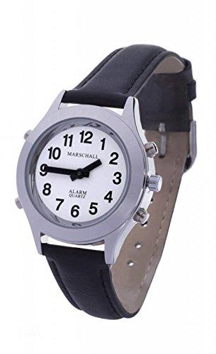 Sprechende Analog-Armbanduhr für Damen 32 mm silberfarben mit Lederarmband D-SL
