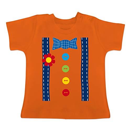 Karneval und Fasching Baby - Clown Kostüm blau - 1-3 Monate - Orange - BZ02 - Baby T-Shirt Kurzarm