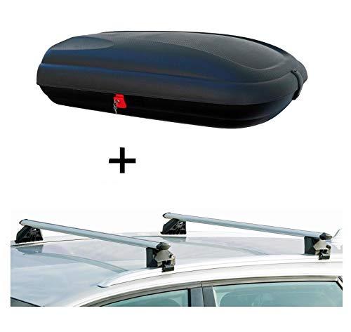 VDP Dachbox BA320 carbonlook + Relingträger CRV107A kompatibel mit Audi A3 Sportback (8V) 5 Türer ab 2012