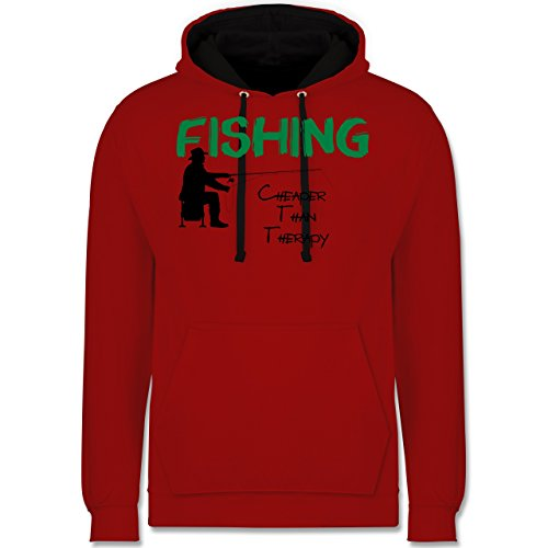 Angeln - Fishing - Cheaper Than Therapy - Kontrast Hoodie Rot/Schwarz